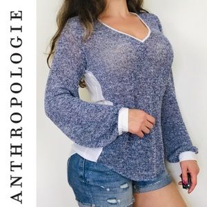 Anthropologie Waverly Grey Mixed Media Sweater Top